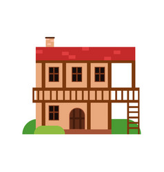 traditional old house with timber framing ancient vector image