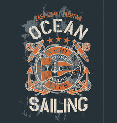 vintage east coast yachting ocean sailing vector image