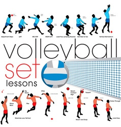 volleyball lessons set vector image vector image