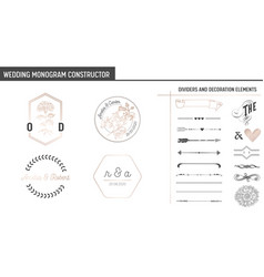 wedding monogram constructor invitation cards vector image