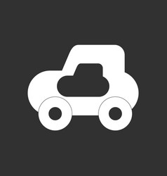 White icon on black background toy car vector