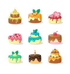 Whole cakes with frosting and fruit flat vector