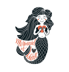 with cartoon mermaid holding pink heart vector image