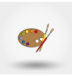 Wooden art palette with paints and brushes vector image