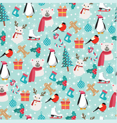 christmas background with santa claus snowman vector image
