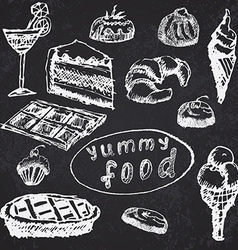 Food deserts set sketch handdrawn on blackboard vector image