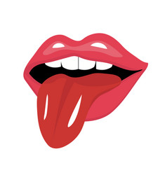 lips with tongue icon flat style red open mouth vector image