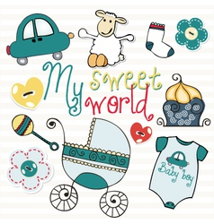 lovely elements for baby boy vector image