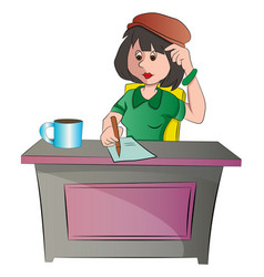 secretary or woman sitting at a desk vector image vector image
