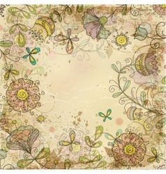 Vintage card on old paper with a flower pattern vector image
