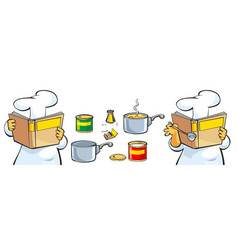chef preparing soup and reading recipe cookbook vector image vector image