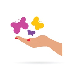 hand with butterfly color vector image vector image