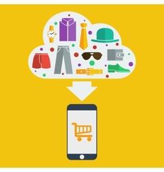 mobile shopping man vector image