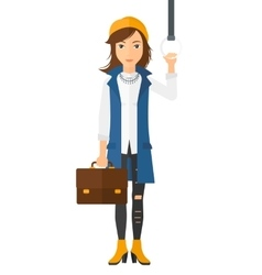 Woman standing inside train vector image vector image