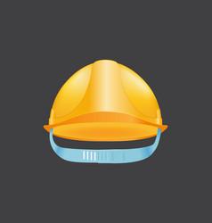 Yellow helmet safety construction hat builder vector