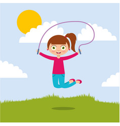 cute smiling girl jumping with skipping rope in vector image