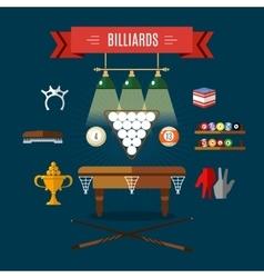 Play Billiards Flat Icon Set vector image vector image