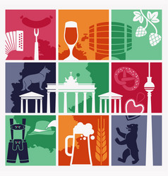 the symbols of germany and berlin in retro style vector image vector image