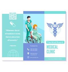 trifold brochure medical clinic blue basic vector image