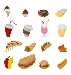 Fast food cartoon icons vector image