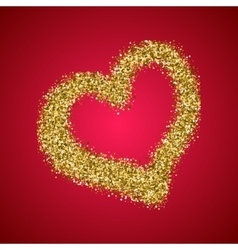 Gold glitter Valentines Day heart on red gradient vector image