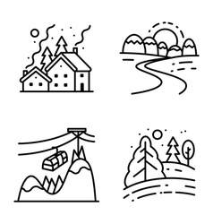 icons set with winter cute landscapes vector image vector image