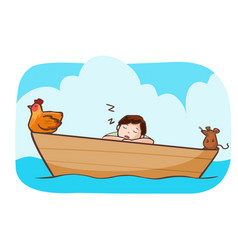 Man sleep on the boat with hen and rat vector