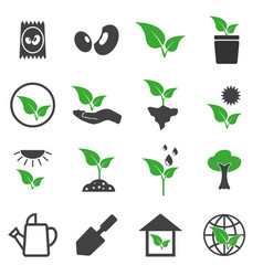plant icons set vector image vector image