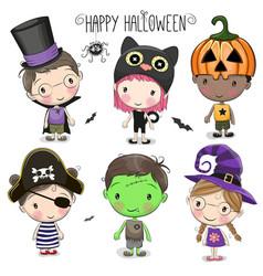 set with cute halloween kids vector image