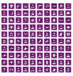 100 avatar icons set grunge purple vector