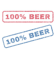 100 percent beer textile stamps vector image