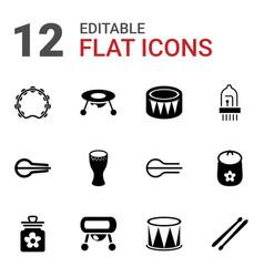 12 drum icons vector