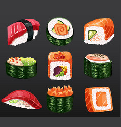 3d sushi rolls traditional seaweed fresh raw food vector