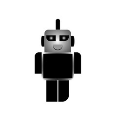 a cartoon robot in black and white that smiles vector image