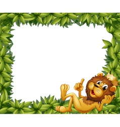 A lion with crown in leafy frame vector