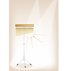 A Musical Bar Chimes on Brown Stage Background vector