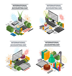 Accounting banner set isometric style vector