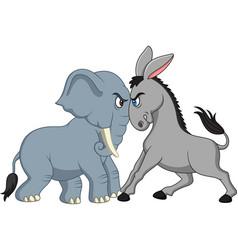 American politics - democratic donkey versus repub vector