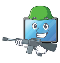 army lcd tv cartoon in living room vector image