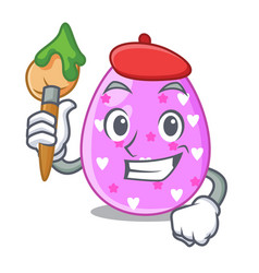 artist easter egg cartoon clipping on path vector image
