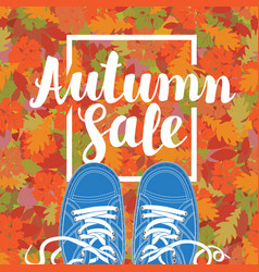 autumn sale banner with the inscription and shoes vector image