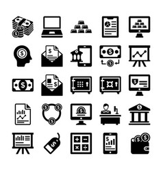 Banking and finance line icons 5 vector