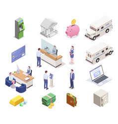 banking isometric icon set vector image