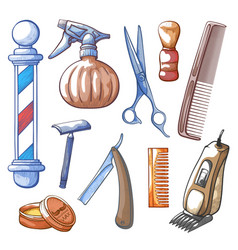 barbershop tools set hand drawn vector image