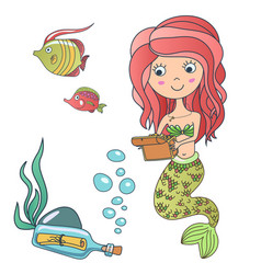 Beautiful cute little siren mermaid vector