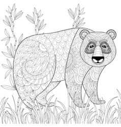 big panda with bamboo in entangle tribal style vector image