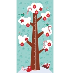 Big tree with white snow on the branches birds vector