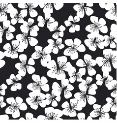 black and white laconic sakura blossom patter vector image