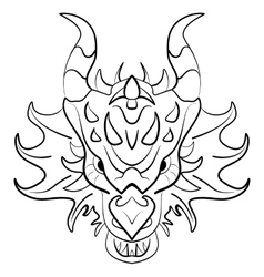 Black dragon tattoo design on white background vector image