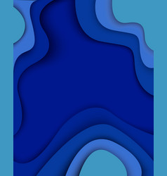 Blue waves paper cut modern abstract background vector